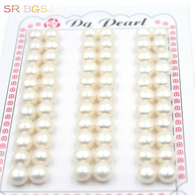 33 Pairs 7.5-8mm Half Drilled Button Coin Natural Freshwater Pearl Loose Beads