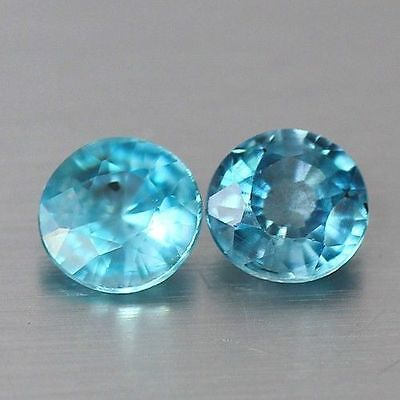 1.955 Cts Full Fire Natural Natural Earth Mine Neon Blue Zircon Loose Gem Pair