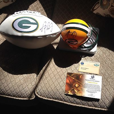 Aaron Rodgers Signed Mini Helmet Steiner  Coa ! Football Is Not In This Listing