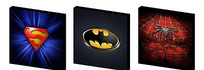 Superhero Logos- Canvas Art Blocks/ Wall Art Plaques/pictures