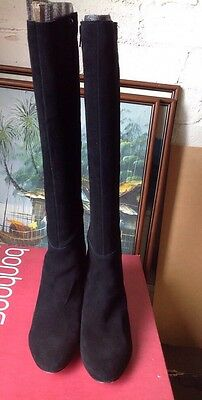 Bonbons Suede Knee High Black Boots - Size 8.5