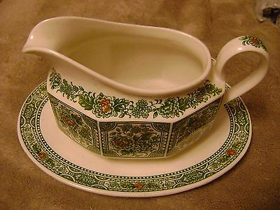 Vintage Green mix Ridgway gravy boat with saucer attached