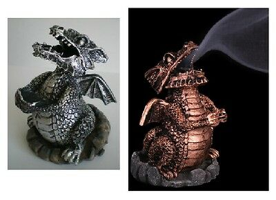 Resin Cast Smoking Dragon Incense Holder - Two Colours (C26)
