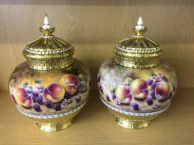 Pair of Royal Worcester Painted Fruit Study Basket Vases By Lisa Sykes