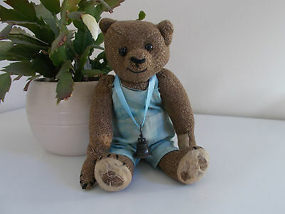 """""""Cyril"""" - Antique 9"""" American Burlap Bear in Old Overalls"""