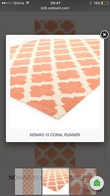 *BRAND NEW* Coral and Beige Floor Runner Rug - RRP:  $649
