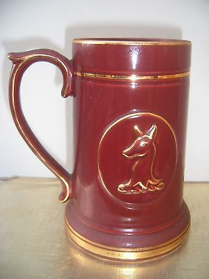 Large Prinknash Gloucester PotteryTwo Pint Mug Dark Red / Gilt. Deer symbol.