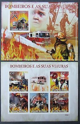 Guinea Bissau 2009 - Firetrucks, 1 M/Sh and 1 S/S, not perforated, MNH, E 2864A