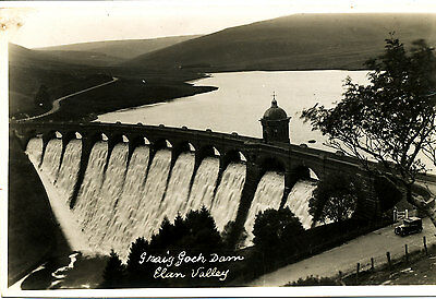 RADNORSHIRE - Early RP Postcard of Criag Goch Dam, Elan Valley (vintage car)
