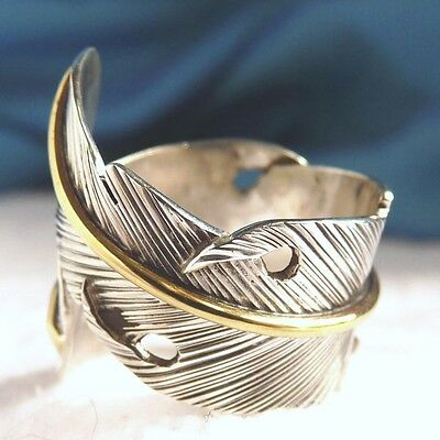 US 4-9 (Adjustable)~ 925 Sterling Silver/Brass SilverSari 'Feather' Boho Ring