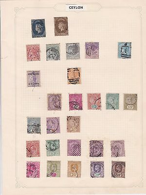 Early Ceylon Used  Stamps On Album Page  Ref R1232