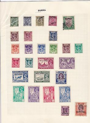 Burma Mounted Mint And  Used  Stamps On Album Page  Ref R1233
