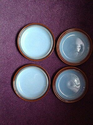 """4 Denby Salad Plates 8""""  Blue With Brown Edging"""