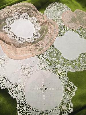 Antique lace and linen Doyleys. Embroidered tulle.Bobbin edged,Chemical,Normandy