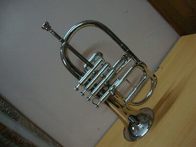 **HIGH GRADE! CHROME Bb/F 4 VALVE FLUGEL HORN FREE CASE+M/P 5 DAY FAST DELIVERY