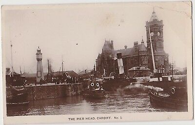 Rp The Pier Head Cardiff Real Photo  Posted 1916