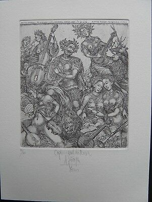 Erotic Bookplate / Exlibris: Harry Jürgens (D) 2000 - Orpheus And The Muses
