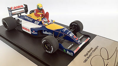 Nigel Mansell SIGNED Williams FW14B, 1/18 Minichamps 'taxi for Senna' cased, COA