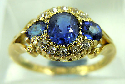 Antique 18 Ct Yellow Gold Sapphire & Diamond Ring Size 'm'