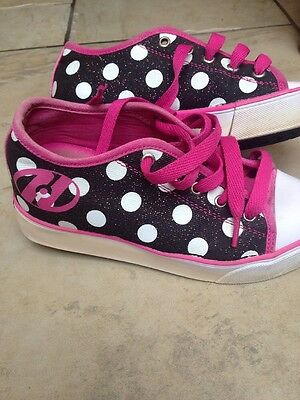 heeleys size 1 Pink, Black And White Spots.
