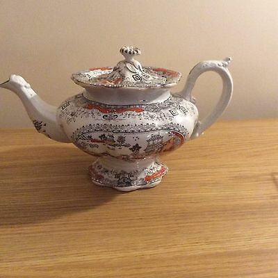 Staffordshire Teapot And 2 Matching Cups And Saucers