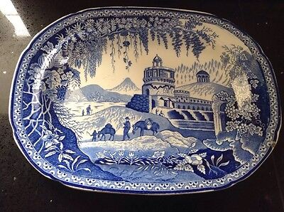 Staffordshire Blue And White Willow Pattern Meat Plate