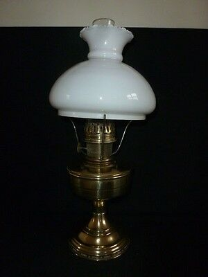 Aladdin Brass Oil Lamp With Shade And Funnel - 2