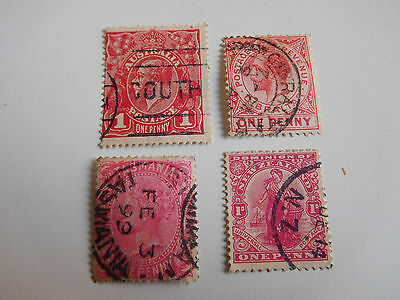Lot 4 old british colonies stamps Gibraltar New Zealand Tasmania Australia