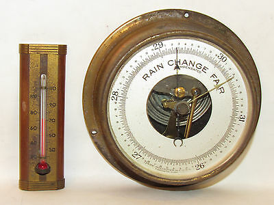 Vtg. Tycos Rain Change Fair Compensated Barometer w/ Taylor Thermometer