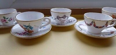 Caverswall Miniature Cups and Saucers x 5 signed  M Grant