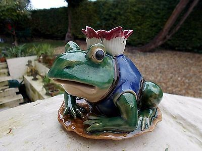 Vintage Frog Figure~Figural Candlestick~Majolica Colours~Chinese Backstamp