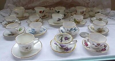 Collection of miniature cups and saucers x 17 Caverswall, Imperial, Hammersley