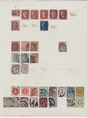 Queen Victoria Stamps On Old Album Page  12 With Halfpenny Plate 9
