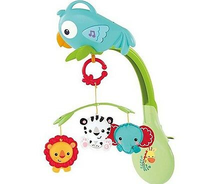 Fisher Price Baby Cot Mobile Musical Jungle Bird Themed Hanging