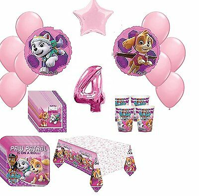 4th  Pink Paw Patrol Skye & Everest 16 Piece Birthday ultimate Party Pack