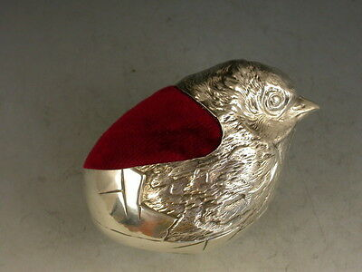 Collectable Edwardian / Mordan Style Sterling Silver Hatching Chick Pin Cushion