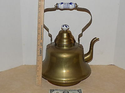 """Vintage Brass/Copper Metal Tea Kettle With Blue & White Ceramic Handle 16"""" High"""