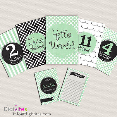 Baby Milestone Cards, Baby Girl Boy Moments and Milestones, Baby Announcements