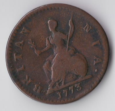 George III, Early Milled Farthing 1773, F, M3703