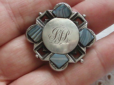 Antique Victorian Silver Scottish Montrose Blue Agate Celtic Housekeepers Brooch