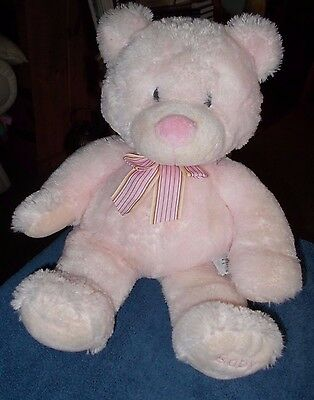 "Russ Berrie Large Pink Teddy Bear Baby Girl Plush Soft Toy 20"" New Baby Gift"