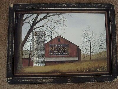 """Primitive Country Print **MAIL POUCH BARN WITH SILO** in black frame 12 1/2"""" x 9"""