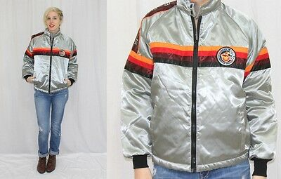 Vintage 1981 BUICK Striped Indy 500 Pace Car Retro Satin BOMBER Jacket Coat~S