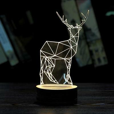 3D Unique  Xmas Deer Lighting Effects Optical Illusion Home Decor LED Table Lamp