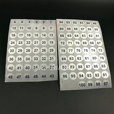2000 Serial number 1 to 100 Label Stickers 10mm Silver Round Waterpproof