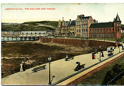 CARDIGAN: RPPC of College & Parade, Aberystwyth (posted Llanidloes 1909)