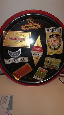 Drinks Tray Vintage Retro Martini Drambuie Martell Etc 70S Era