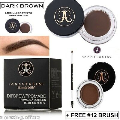 Anastasia Beverly Hills Dip Brow Pomade Dipbrow Dark Brown + Free Duo Brush #12