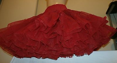 Vintage Sam's Red Full Sweep Petticoat/slip--Size Small