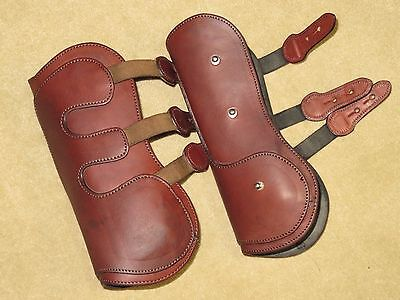 HIGH QUALITY Neoprene Lined Leather Open Front Jumping Boots~Stud Closure~Sz LG